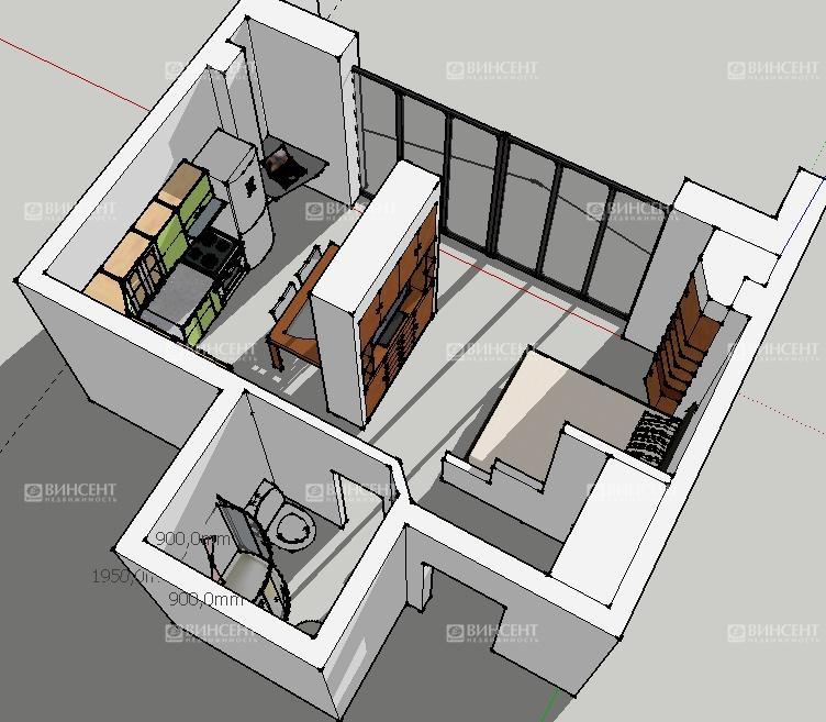 Квартира-студия в Сочи 36 м