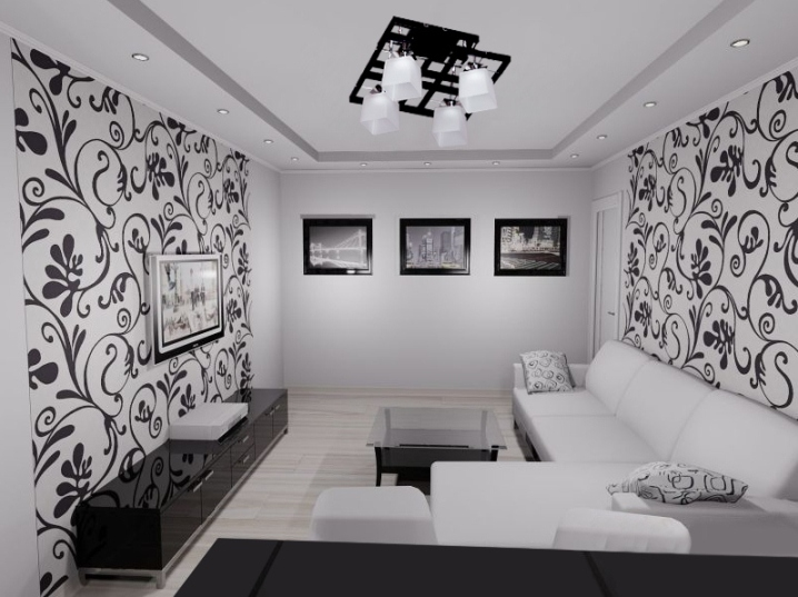 черно белая гостиная